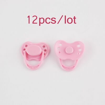 12pcs Pink Magnetic Pacifier Dummy Reborn Doll Accessories Doll Internal Soother