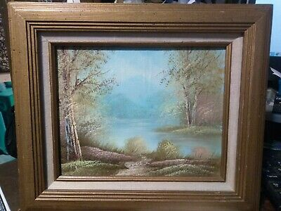 VTG Oil on canvas painting signed by K Beiber with frame 8X10