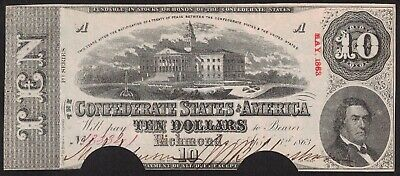 1863 Confederate States $10 Ten Dollar Note Richmond ~ Cut-Out Cancelled (D154)