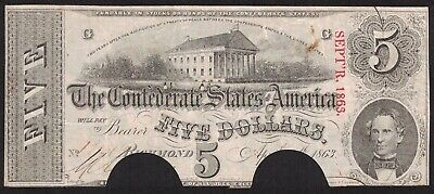 1863 Confederate States $5 Ten Dollar Note Richmond ~ Cut-Out Cancelled (D155)
