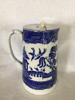 """Blue Willow Doulton Pitcher 8"""" Tall With Metal Lid—Beautiful!"""