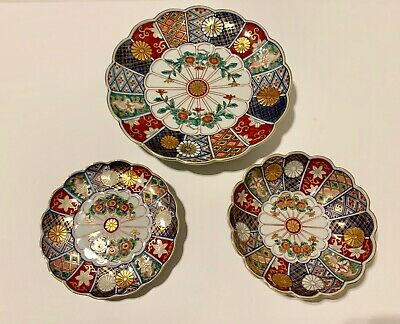 Japanese Imari Arita Ware Hand Painted Porcelain Plates & Bowls Set of 3