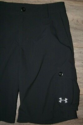 Under Armour Boy's Shorts YL Youth L Large Cargo Black EUC