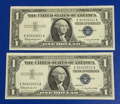 1957B $1 Blue Choice Crisp AU Consecutives SEt of 2! X001 Old US Paper Currency!