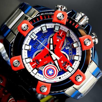 Invicta Grand Octane Marvel Captain America Swiss Mvt 63mm High Polish Watch New