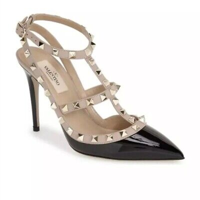 81828be3eb6c Auth Valentino Rockstud Ankle Strap Cage Patent Leather Pump Black 36.5 6.5