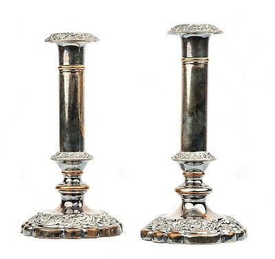 A Pair of Antique Victorian Copper Luster Toned Silver Plated Candlesticks