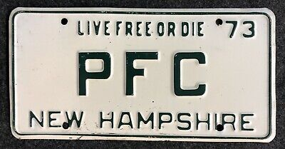 1973 New Hampshire Vanity License Plate PFC NH 73 Private First Class