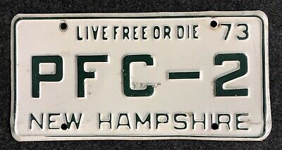 1973 New Hampshire Vanity License Plate PFC-2 NH 73 Private First Class Marines