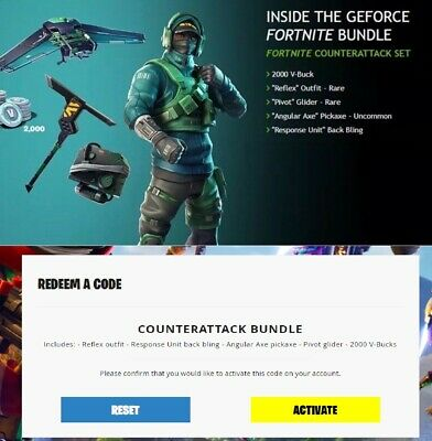 Fortnite CounterAttack Bundle NVIDEA GEFORCE XBOX PS4 PC + 2000 vBucks FAST POST