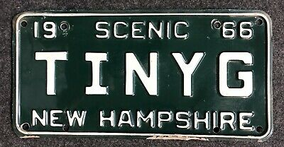 1966 New Hampshire Vanity License Plate TINYG NH 66 Tiny Gangster