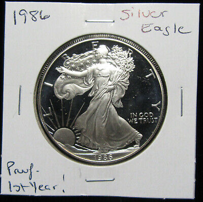 1986-S $1 Silver Eagle Silver Dollar. Proof. 1st year of issue. (0119117)