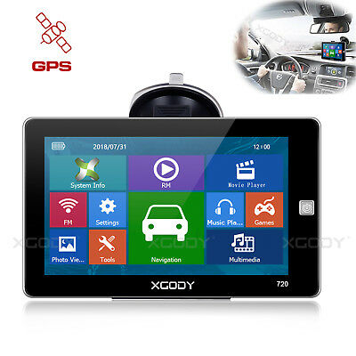 XGODY 720 7'' GPS Navigation 3D Map View Lifetime Map Update with Free Sunshield
