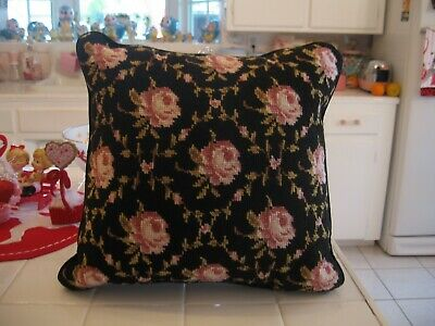 Beautiful Vintage Needlepoint Pillow With Pink Roses And Zippered Velour Back