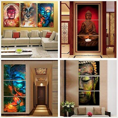 Buddha Statue Print Abstract Canvas Oil Painting Art Wall Decor Unframed