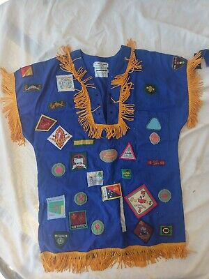 Australian Boy Scout shirt full of cloth badges.  Victoria, NSW,  NZ, Jamboree.