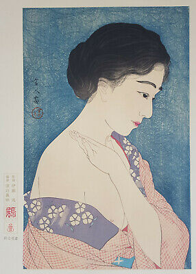 TORII KOTONDO Genuine Japanese Woodblock Print APPLYING POWDER MAKEUP