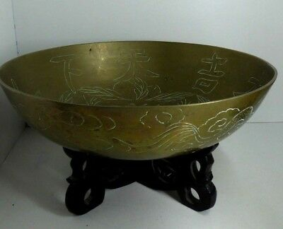 Antique Chinese Brass Bowl Engraved Symbols Carved Wooden Stand Estate Lot