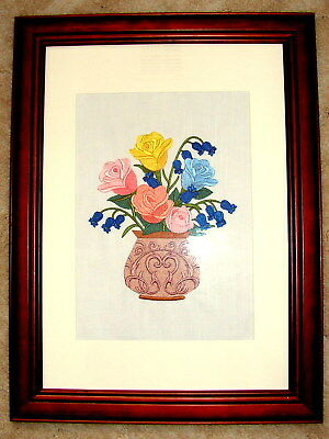 Embroidery - Roses & Bluebell Flowers In An Antique Vase - Frame Not Included