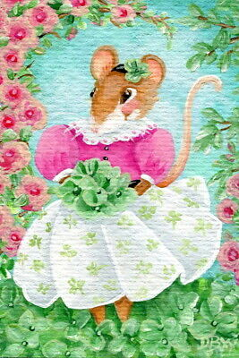 ACEO original art painting mouse animal St. Patrick's Day shamrock clover figure