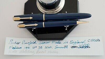 Vintage Parker Duofold Senior Pen & Pencil Set Blue Made In England C:1950's.