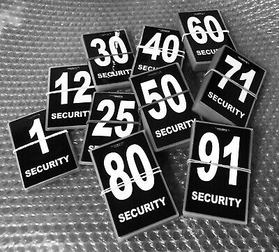 Security guard / crowd controller number tag ID (Black) Various Numbers