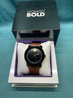 Movado Bold Black Dial Stainless Steel Brown Leather Strap Men's Watch