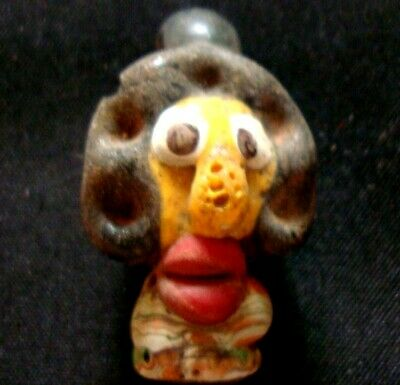Old Phonecian Early Man Yellow Face Mosaic Big Red Mouth Glass Bead Pendant 429