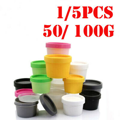 100/50ml Plastic Mask Cosmetic Face Cream Balm Sample Container Jar Pot 1/ 5PCS