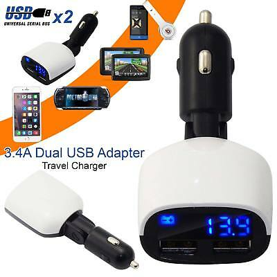 Car Charger 3.4A Dual USB Plus Adapter Cigarette Lighter LED For All iPad Tablet
