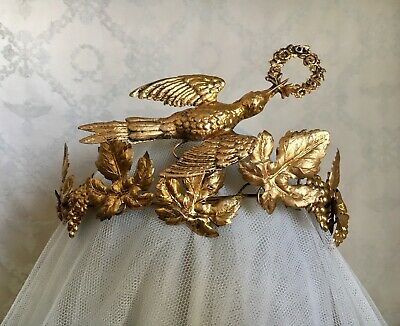 Antique 19thC French Tiara Wedding Crown Gilt Pressed Metal Dove In Flight