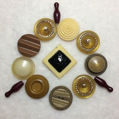 Lot of 13 Vintage Antique Buttons Bakelite Celluloid Early Plastics bowling pins