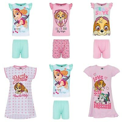 Girls Paw Patrol Nightie Nighty Nightdress Pyjamas Pjs T-Shirt Short Set Age 2-8