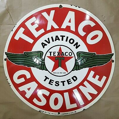 Texaco Gasoline Filling Station 24 Inches Round Vintage Enamel Sign Advertising Signs