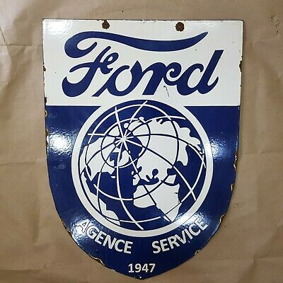 Ford Agence Service 2 Sided Vintage Porcelain Sign 17 1/2 X 24 Inches