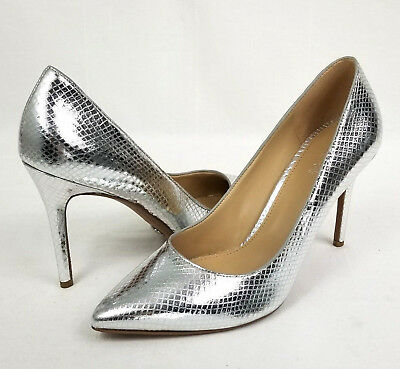 cf82f51af149 Michael Kors Womens Claire Pump Embossed Leather Metallic Silver Snakeskin