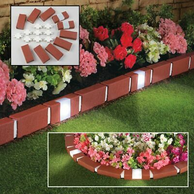 10 Pack Brick Effect Hammer-In Pathway Garden Edging Border with Solar Lights