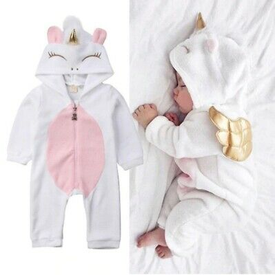 Toddler Newborn Unicorn Baby Girls Fleece Outfits Costume Romper Jumpsuit
