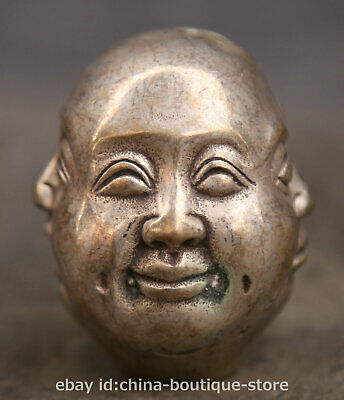 "2.2"" Chinese Buddhism Paktong happy or angry, sad or joyous Buddha Head Statue"