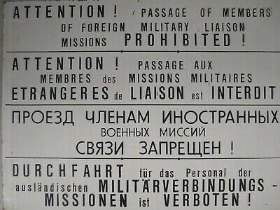 EAST GERMAN/DDR/NVA Border warning multi-lingual sign for Military Units