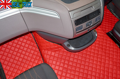 Truck Eco Leather Floor Mats Set Fit Daf Xf 106 Automatic - Red - After 67 Plate