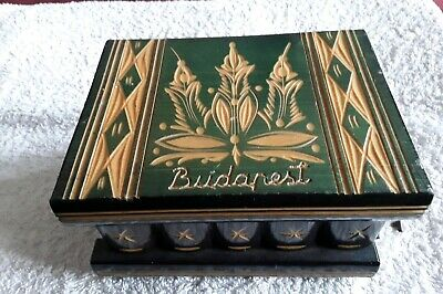 Vintage Hungarian Wooden Puzzle Box With Key