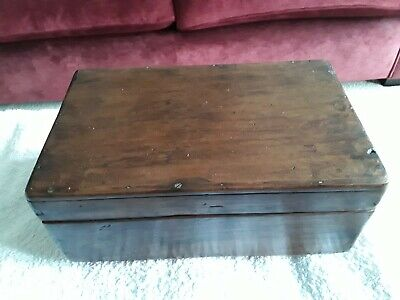 Vintage Wooden Box with Tray Insert