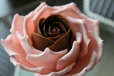 Handmade TWO COLOURED Edible Sugar Roses Flowers Cake Toppers