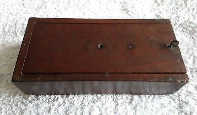 Vintage wooden box dove tail joints sliding lid unuual pull pin fastener