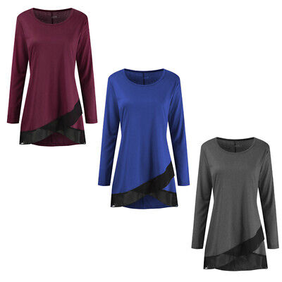 2019 Female Color Stitching Round-Neck Long Sleeve Irregular Casual Long Tops ON