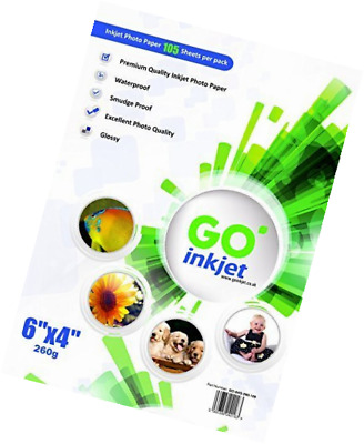 "100 Sheets 6x4"" 260gsm Photo paper Extra 5 Per Pack: Very glossy white and water"