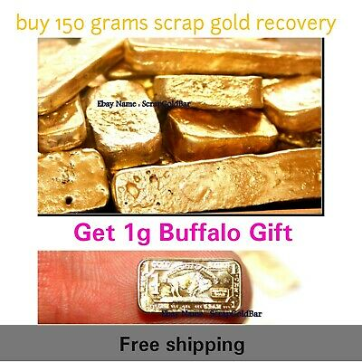 Gold scrap 150g gold recovery + 1 Grams 100 mills .999 Fine plated Gold Buffalo