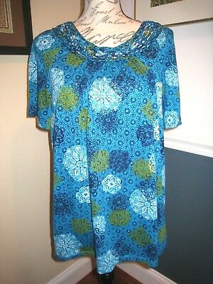 b1699ae1d9d13 White Stag Women s Top Size XL (16-18) Blue Multicolored Floral Shirt Top
