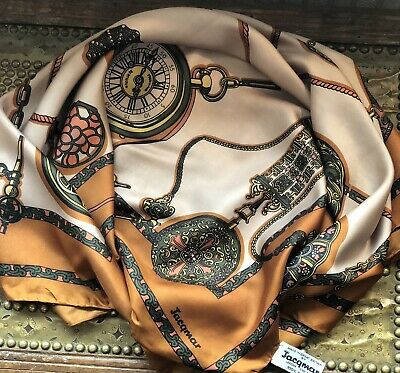 Stunning Vintage JACQMAR Fob Watches, Chains & Cords Print Large Silk Scarf
